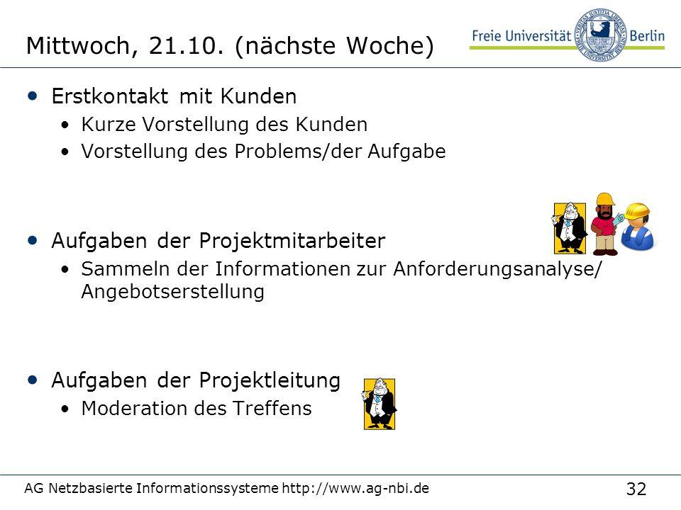 32 AG Netzbasierte Informationssysteme http://www.ag-nbi.de Mittwoch, 21.10. (nächste Woche) Erstkontakt mit Kunden Kurze Vorstellung des Kunden Vorst