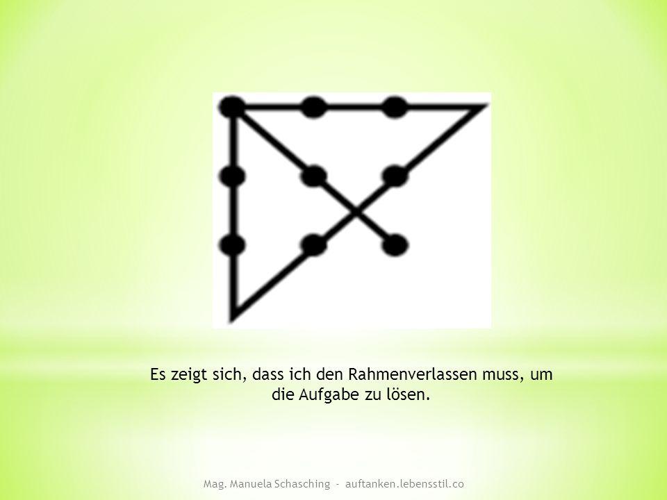 Es zeigt sich, dass ich den Rahmenverlassen muss, um die Aufgabe zu lösen. Mag. Manuela Schasching - auftanken.lebensstil.co