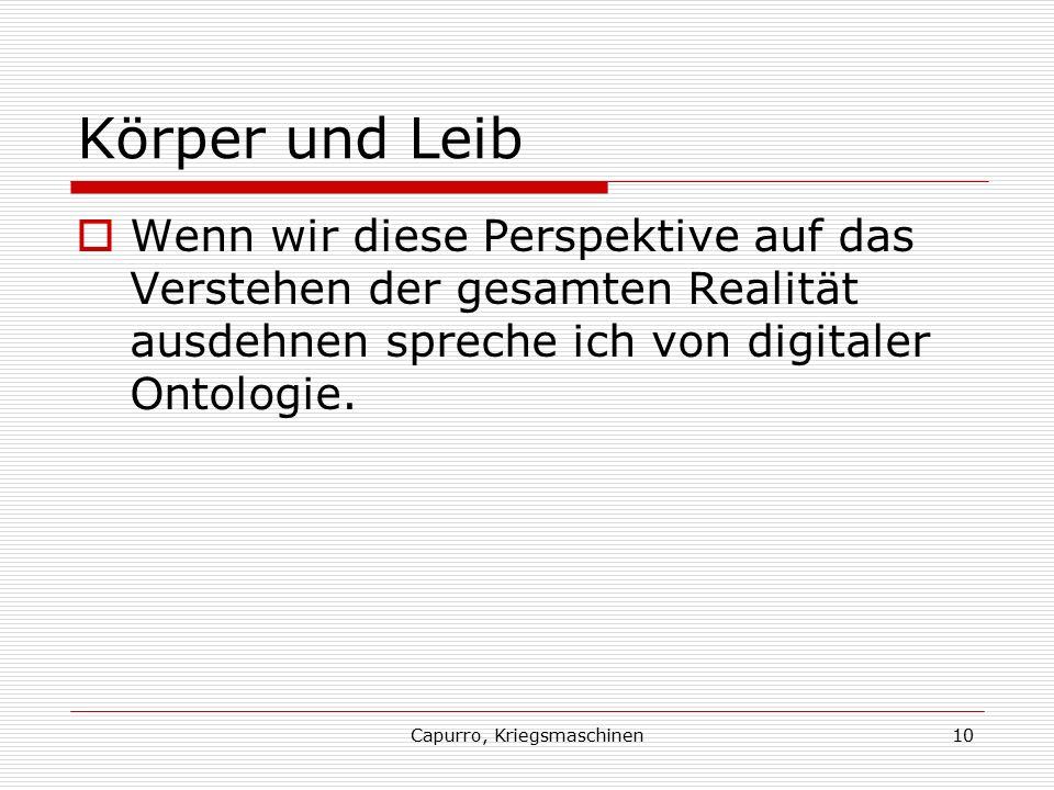 Capurro, Kriegsmaschinen10 Körper und Leib  Wenn wir diese Perspektive auf das Verstehen der gesamten Realität ausdehnen spreche ich von digitaler Ontologie.