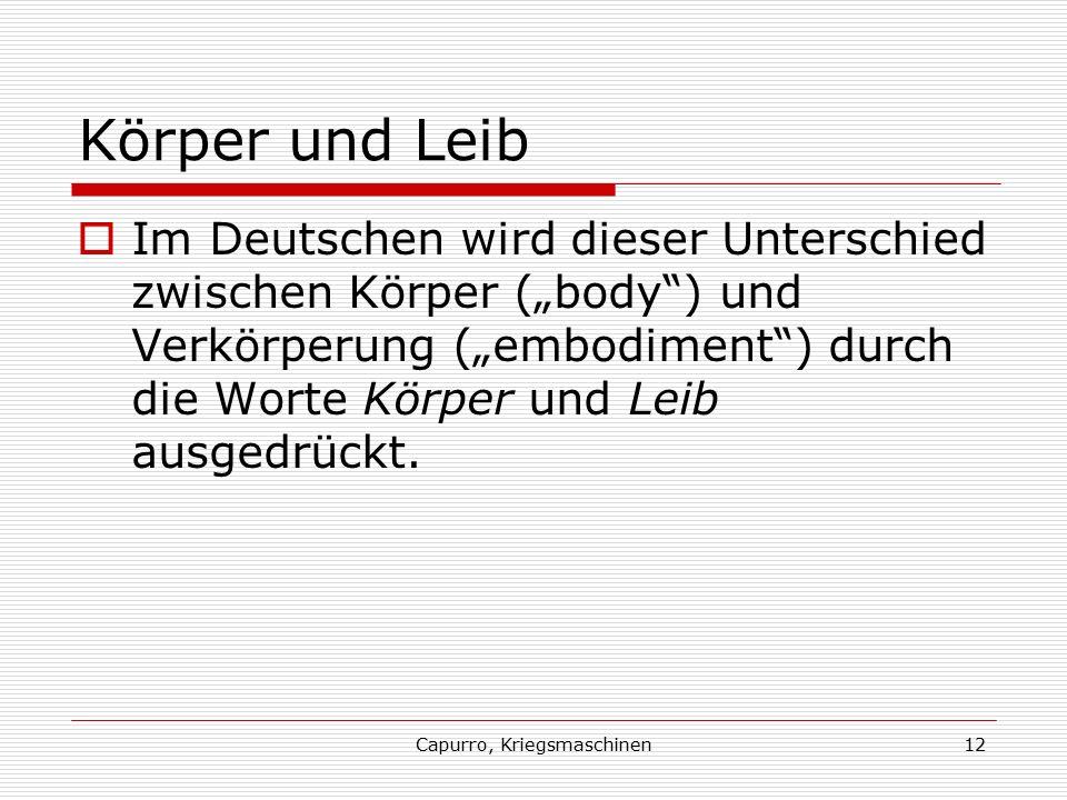 """Capurro, Kriegsmaschinen12 Körper und Leib  Im Deutschen wird dieser Unterschied zwischen Körper (""""body ) und Verkörperung (""""embodiment ) durch die Worte Körper und Leib ausgedrückt."""