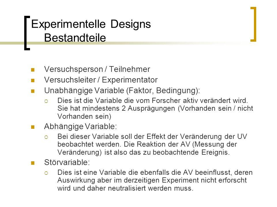 Experimentelle Designs Bestandteile Versuchsperson / Teilnehmer Versuchsleiter / Experimentator Unabhängige Variable (Faktor, Bedingung):  Dies ist d
