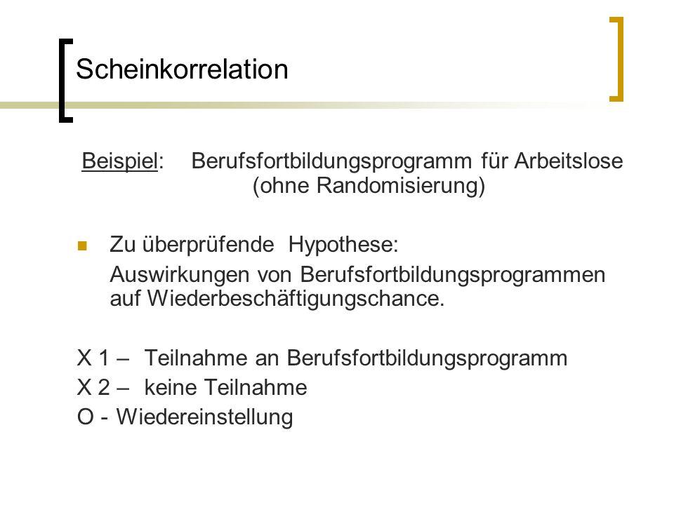 Scheinkorrelation Beispiel: Berufsfortbildungsprogramm für Arbeitslose (ohne Randomisierung) Zu überprüfende Hypothese: Auswirkungen von Berufsfortbil