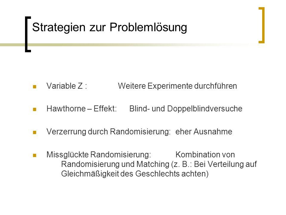 Strategien zur Problemlösung Variable Z : Weitere Experimente durchführen Hawthorne – Effekt: Blind- und Doppelblindversuche Verzerrung durch Randomis