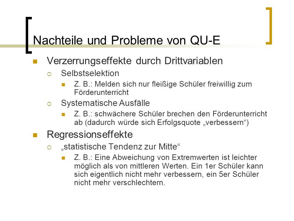 Nachteile und Probleme von QU-E Verzerrungseffekte durch Drittvariablen  Selbstselektion Z. B.: Melden sich nur fleißige Schüler freiwillig zum Förde