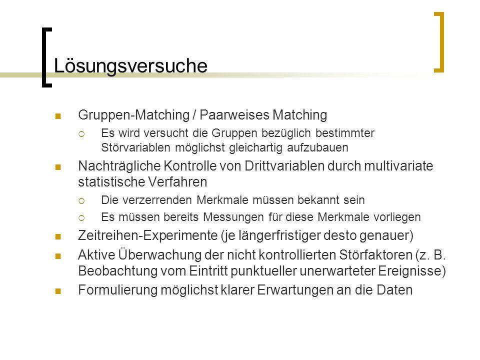 Lösungsversuche Gruppen-Matching / Paarweises Matching  Es wird versucht die Gruppen bezüglich bestimmter Störvariablen möglichst gleichartig aufzuba