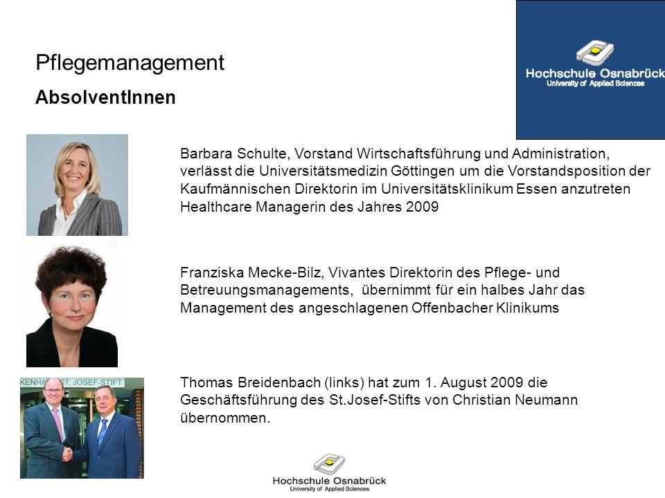 Pflegemanagement AbsolventInnen Barbara Schulte, Vorstand Wirtschaftsführung und Administration, verlässt die Universitätsmedizin Göttingen um die Vor
