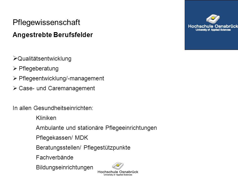  Qualitätsentwicklung  Pflegeberatung  Pflegeentwicklung/-management  Case- und Caremanagement In allen Gesundheitseinrichten: Kliniken Ambulante