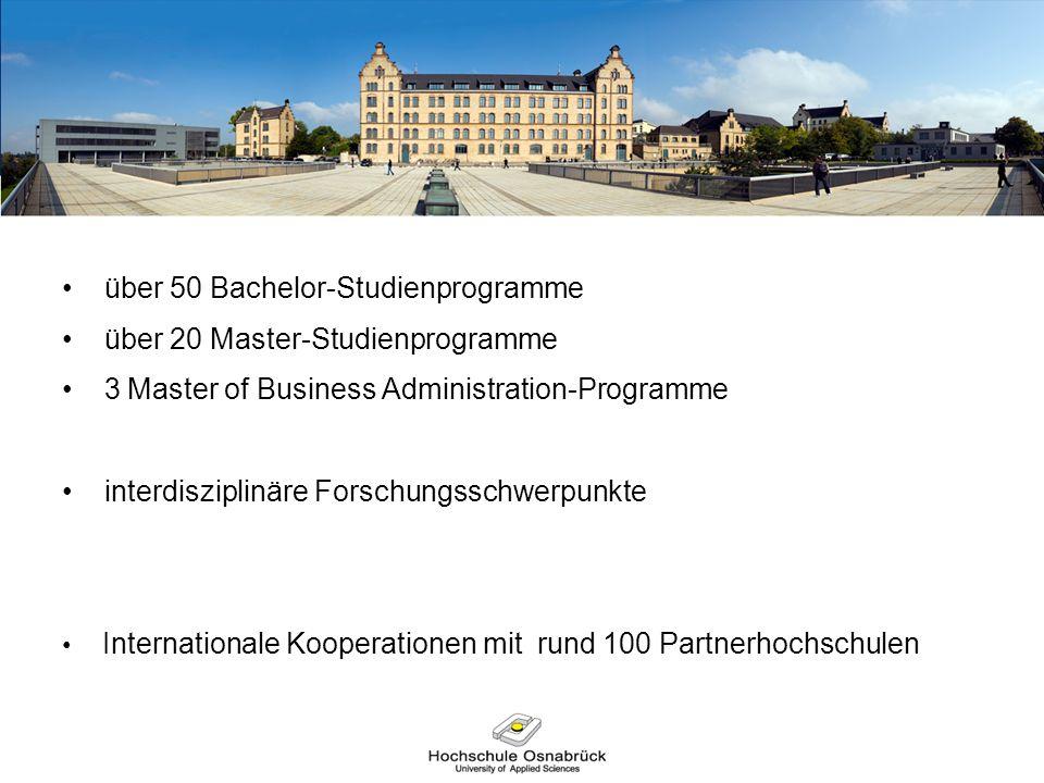 über 50 Bachelor-Studienprogramme über 20 Master-Studienprogramme 3 Master of Business Administration-Programme interdisziplinäre Forschungsschwerpunk