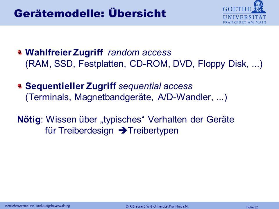 © R.Brause, J.W.G-Universität Frankfurt a.M. Folie 11 Betriebssysteme: Ein- und Ausgabeverwaltung Energieverwaltung Gerätemodelle RAID-Konfigurationen