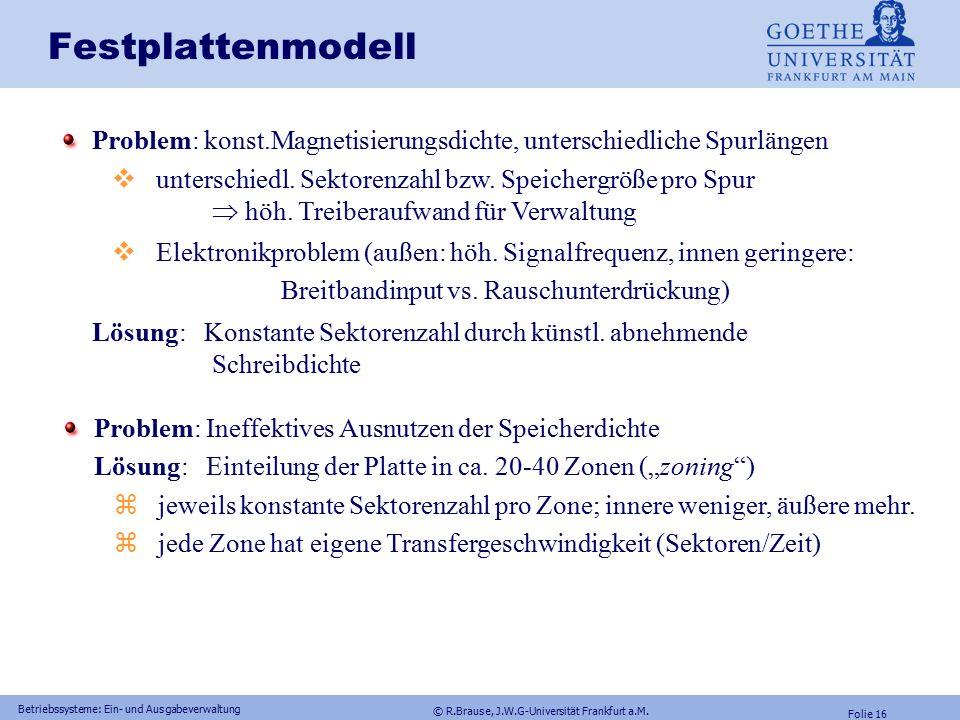 © R.Brause, J.W.G-Universität Frankfurt a.M. Folie 15 Betriebssysteme: Ein- und Ausgabeverwaltung Festplattenmodell mittlere Zugriffszeit t S (average