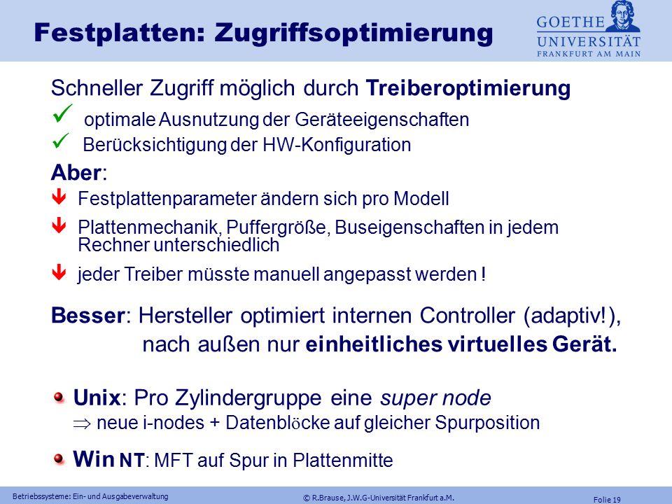 © R.Brause, J.W.G-Universität Frankfurt a.M. Folie 18 Betriebssysteme: Ein- und Ausgabeverwaltung Festplattenmodell: Bus-Parallelaktivität