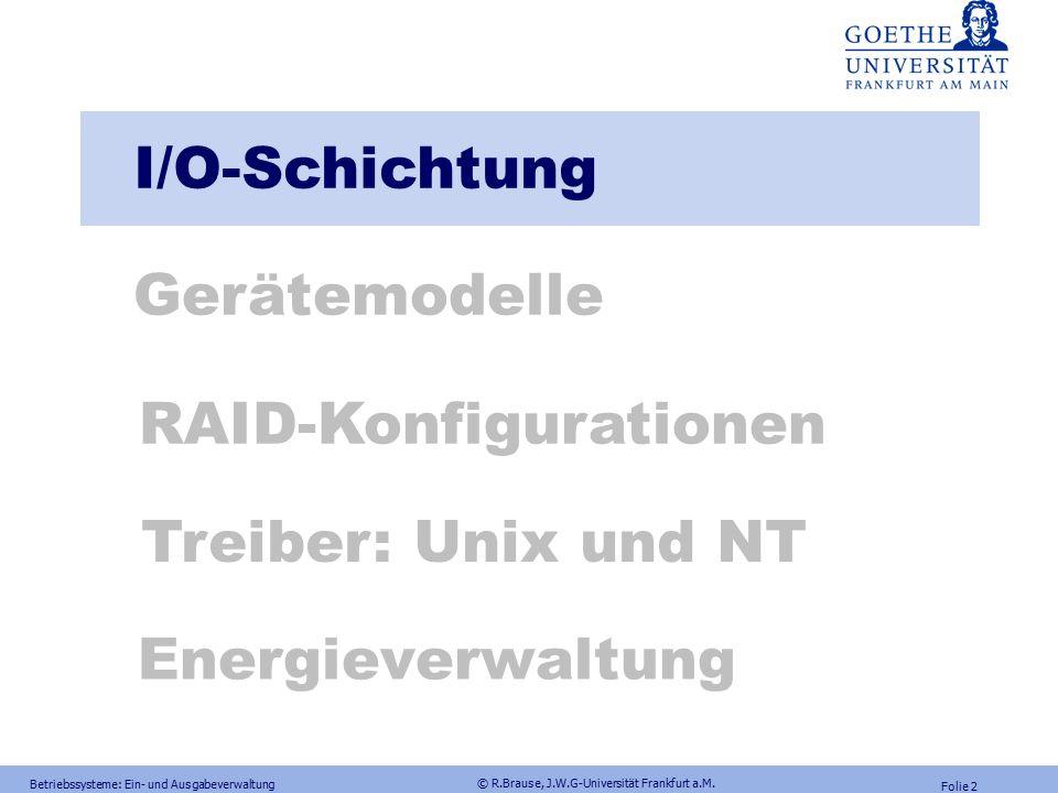 Prof. Dr. Rüdiger Brause Adaptive Systemarchitektur Institut für Informatik Fachbereich Informatik und Mathematik (12) Modul: B-BS, BS2, M-SIW-S1A, M-