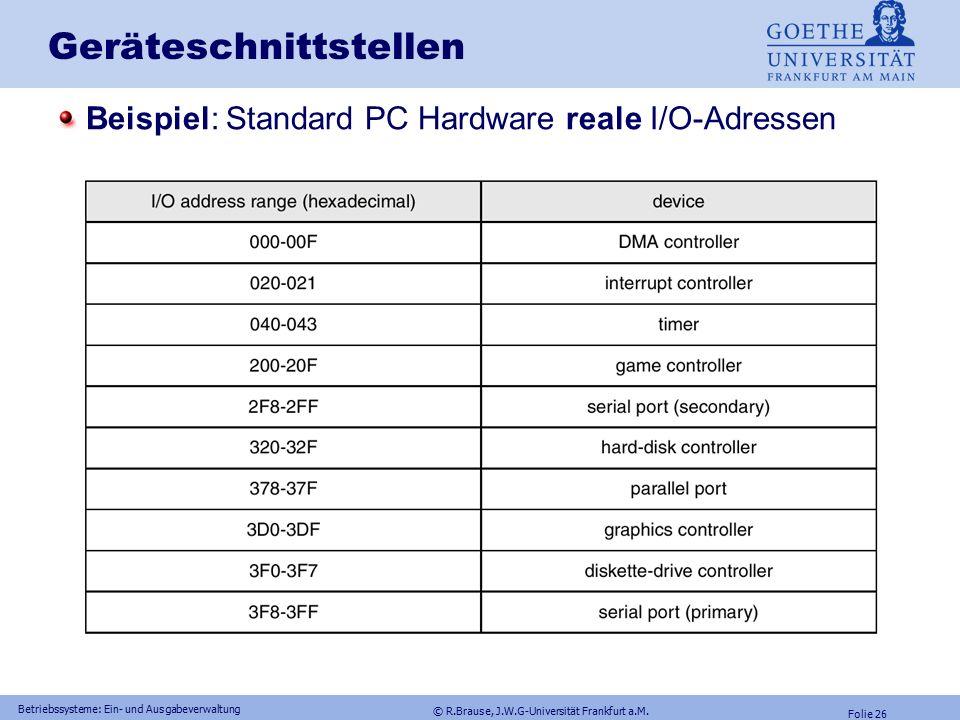 © R.Brause, J.W.G-Universität Frankfurt a.M. Folie 25 Betriebssysteme: Ein- und Ausgabeverwaltung Geräteschnittstellen: I/O mapping Keine dedizierten