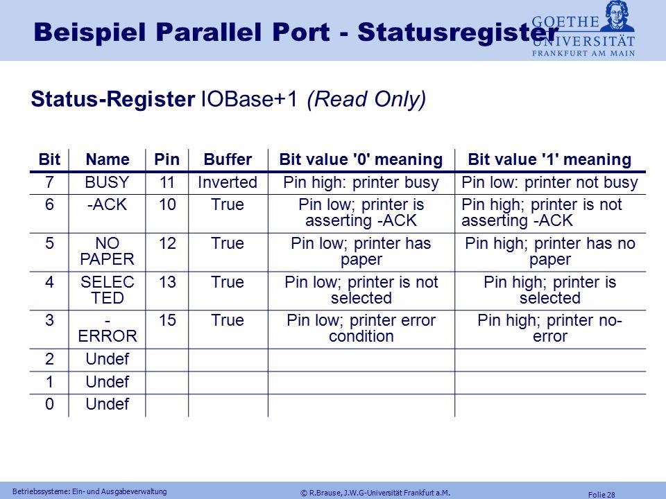 © R.Brause, J.W.G-Universität Frankfurt a.M. Folie 27 Betriebssysteme: Ein- und Ausgabeverwaltung Beispiel Parallel Port - Datenpuffer Daten Register