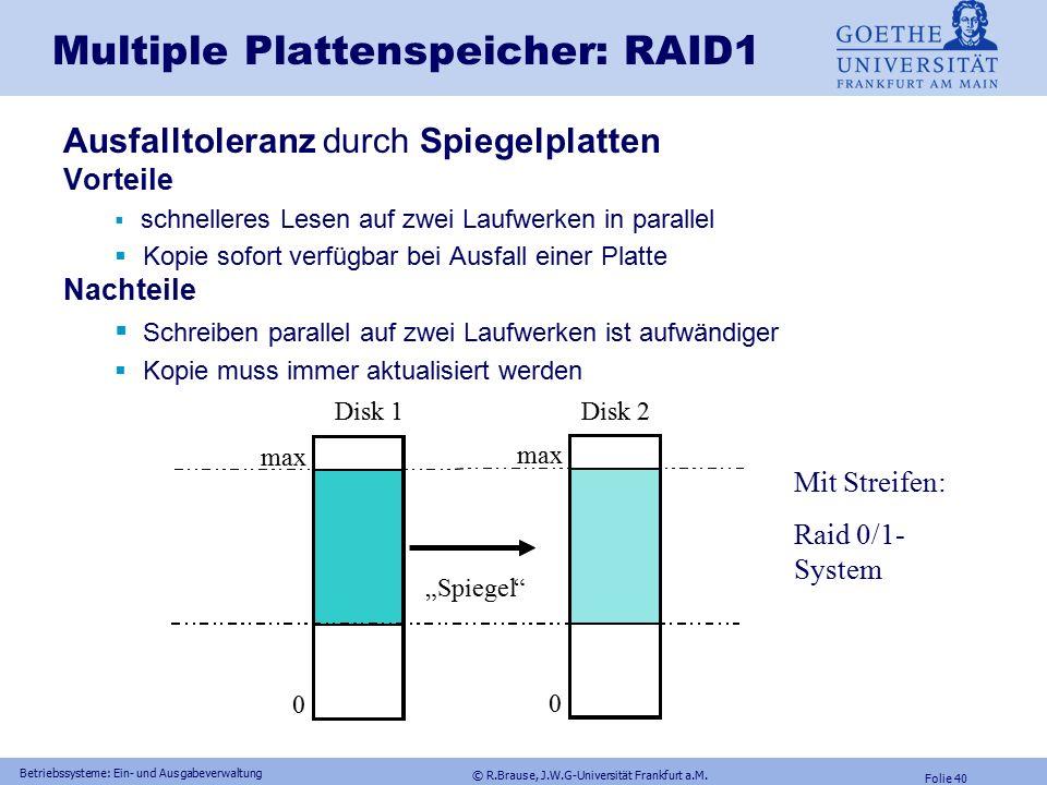 © R.Brause, J.W.G-Universität Frankfurt a.M. Folie 39 Betriebssysteme: Ein- und Ausgabeverwaltung Multiple Plattenspeicher: RAID RAID = Redundant Arra
