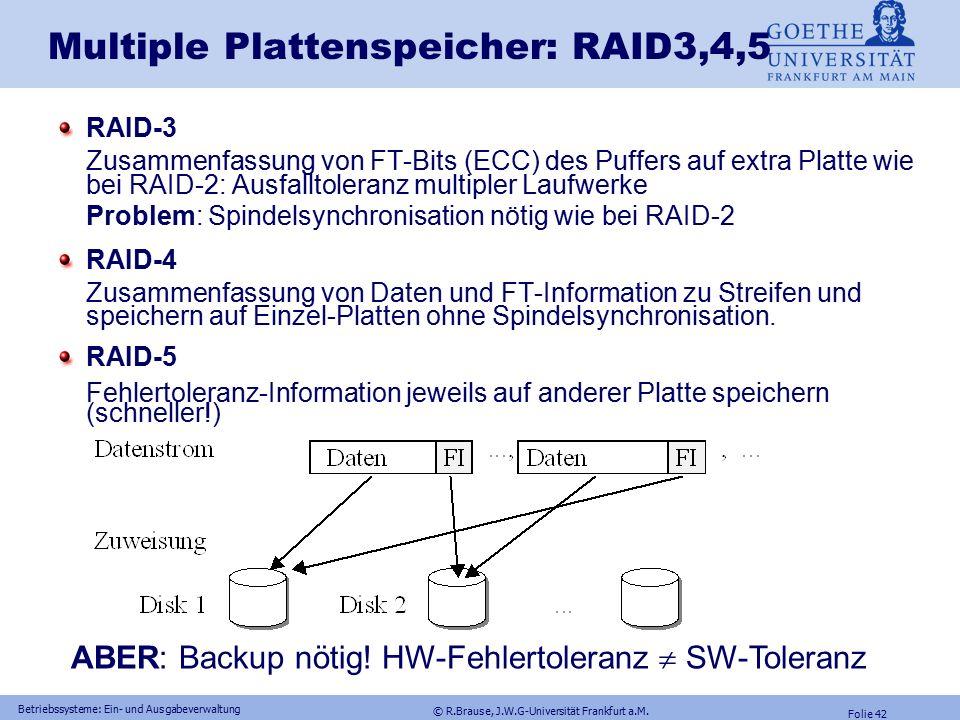 © R.Brause, J.W.G-Universität Frankfurt a.M. Folie 41 Betriebssysteme: Ein- und Ausgabeverwaltung p = b 1  b 2...  b n Ist Laufwerk b 2 defekt, so g