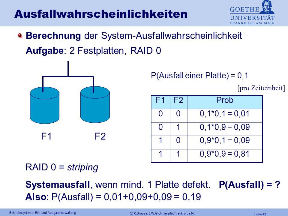 © R.Brause, J.W.G-Universität Frankfurt a.M. Folie 42 Betriebssysteme: Ein- und Ausgabeverwaltung Multiple Plattenspeicher: RAID3,4,5 RAID-3 Zusammenf