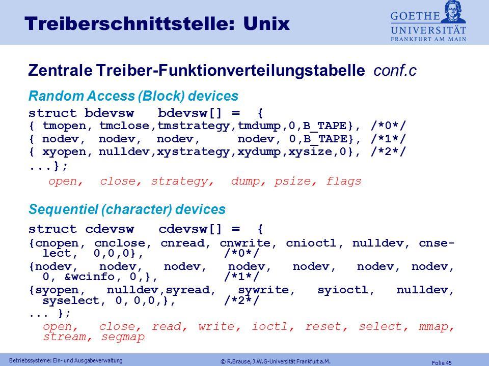 © R.Brause, J.W.G-Universität Frankfurt a.M. Folie 44 Betriebssysteme: Ein- und Ausgabeverwaltung Energieverwaltung Gerätemodelle RAID-Konfigurationen