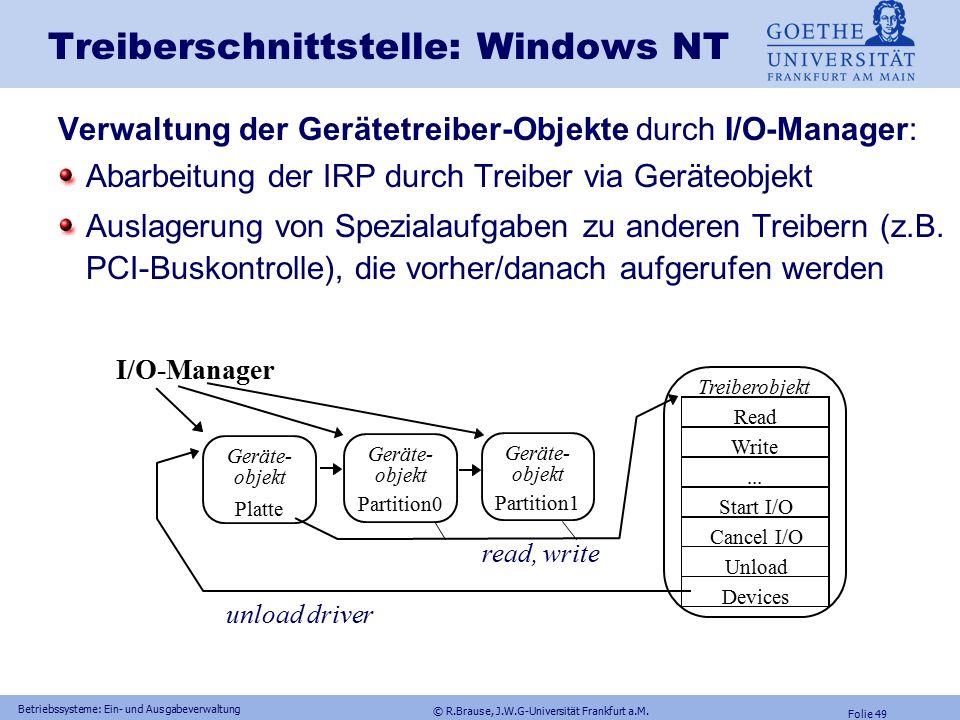 © R.Brause, J.W.G-Universität Frankfurt a.M. Folie 48 Betriebssysteme: Ein- und Ausgabeverwaltung Treiberschnittstelle: Windows NTTreiberfunktionen In