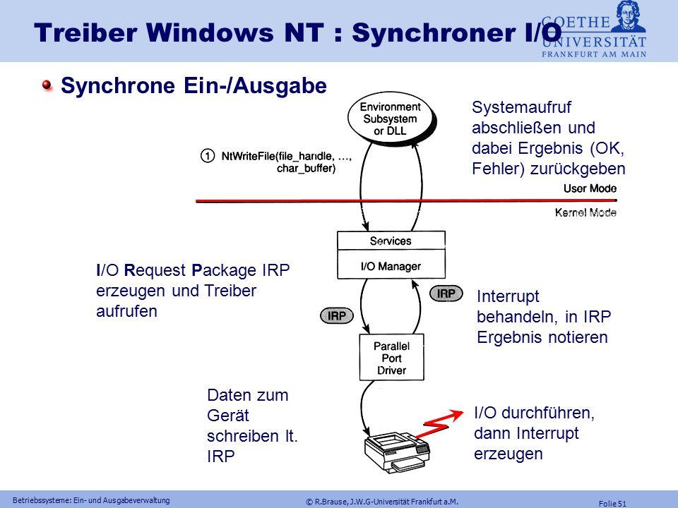 © R.Brause, J.W.G-Universität Frankfurt a.M. Folie 50 Betriebssysteme: Ein- und Ausgabeverwaltung Synchrone und asynch. Ein- und Ausgabe Synchrone I/O