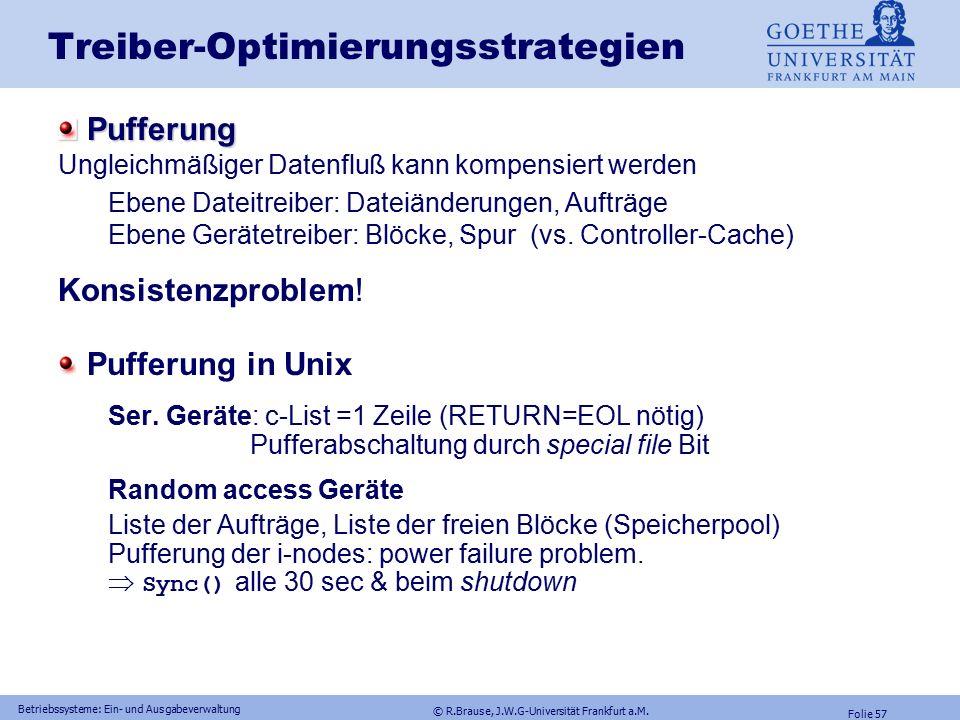 © R.Brause, J.W.G-Universität Frankfurt a.M. Folie 56 Betriebssysteme: Ein- und Ausgabeverwaltung Treiber Windows NT: Asynchroner I/O Phase 5: Datenüb