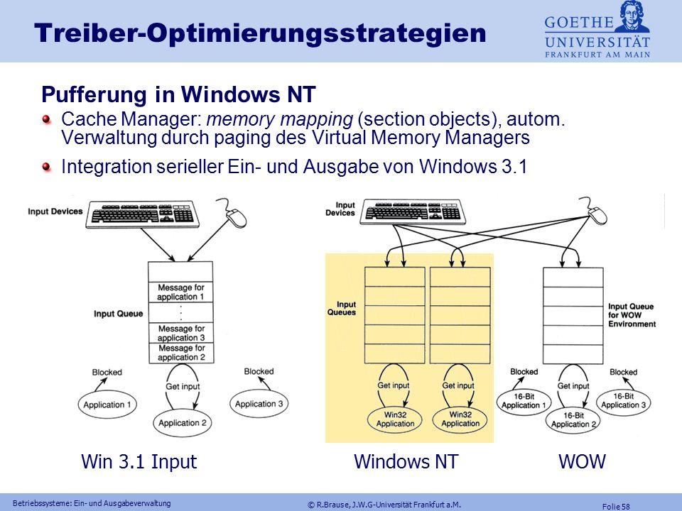 © R.Brause, J.W.G-Universität Frankfurt a.M. Folie 57 Betriebssysteme: Ein- und Ausgabeverwaltung Treiber-Optimierungsstrategien Pufferung Pufferung U
