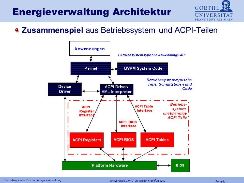 © R.Brause, J.W.G-Universität Frankfurt a.M. Folie 60 Betriebssysteme: Ein- und Ausgabeverwaltung ACPI Anforderungen ACPI: Advanced Configuration and