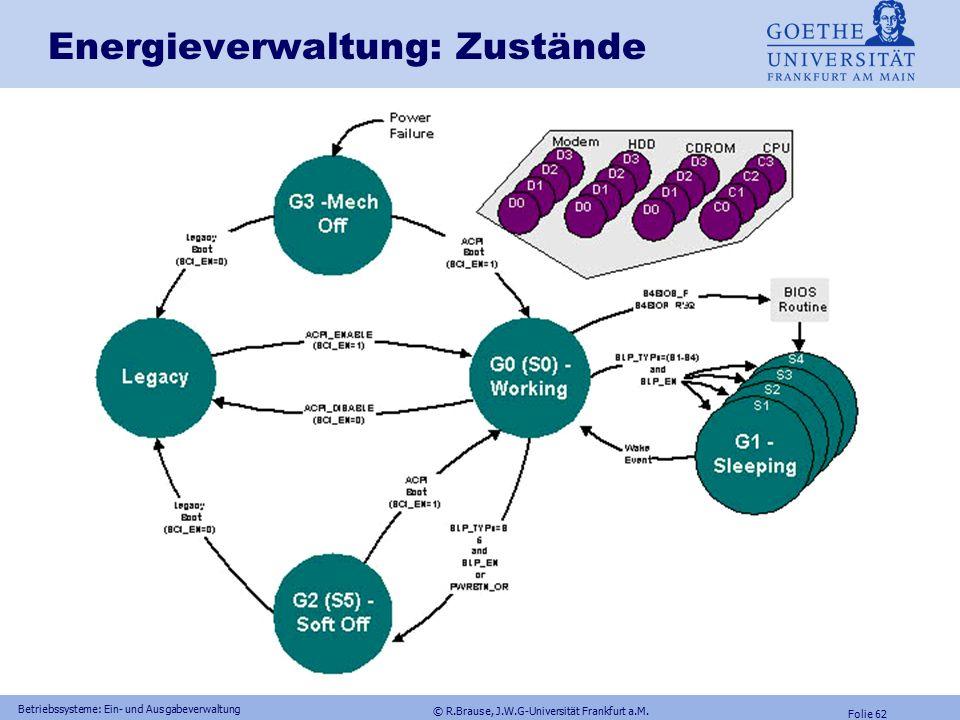 © R.Brause, J.W.G-Universität Frankfurt a.M. Folie 61 Betriebssysteme: Ein- und Ausgabeverwaltung Energieverwaltung Architektur Zusammenspiel aus Betr