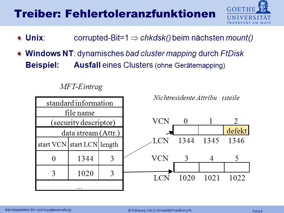 © R.Brause, J.W.G-Universität Frankfurt a.M. Folie 7 Betriebssysteme: Ein- und Ausgabeverwaltung Ein-/Ausgabeschichten: Windows NT Dynam. Schichtung d
