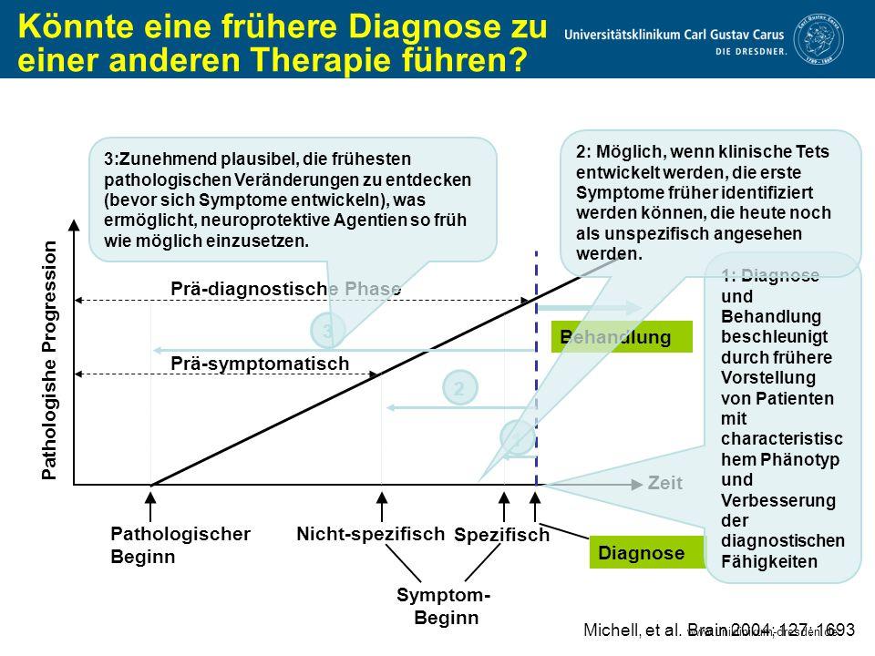 www.uniklinikum-dresden.de Könnte eine frühere Diagnose zu einer anderen Therapie führen? Michell, et al. Brain 2004; 127: 1693 Pathologishe Progressi