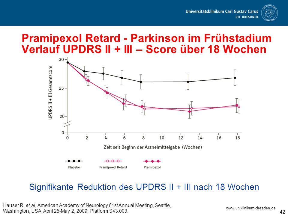 www.uniklinikum-dresden.de 42 Pramipexol Retard - Parkinson im Frühstadium Verlauf UPDRS II + III – Score über 18 Wochen Signifikante Reduktion des UP