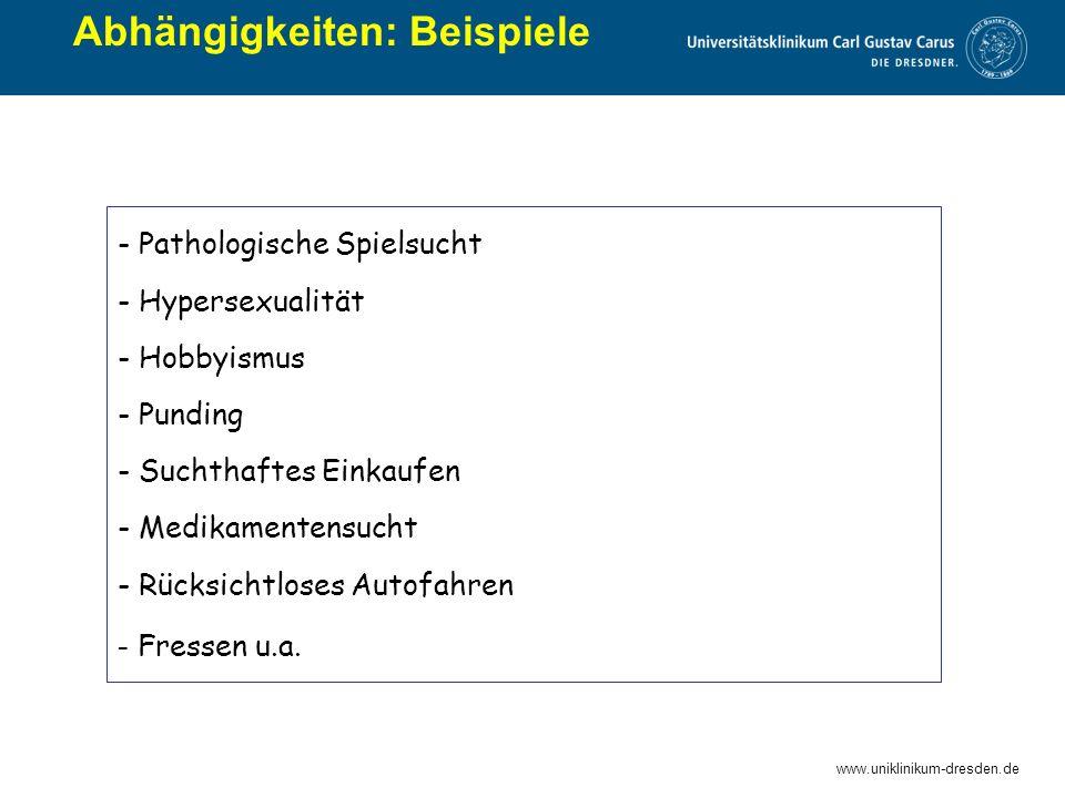 www.uniklinikum-dresden.de Abhängigkeiten: Beispiele - Pathologische Spielsucht - Hypersexualität - Hobbyismus - Punding - Suchthaftes Einkaufen - Med