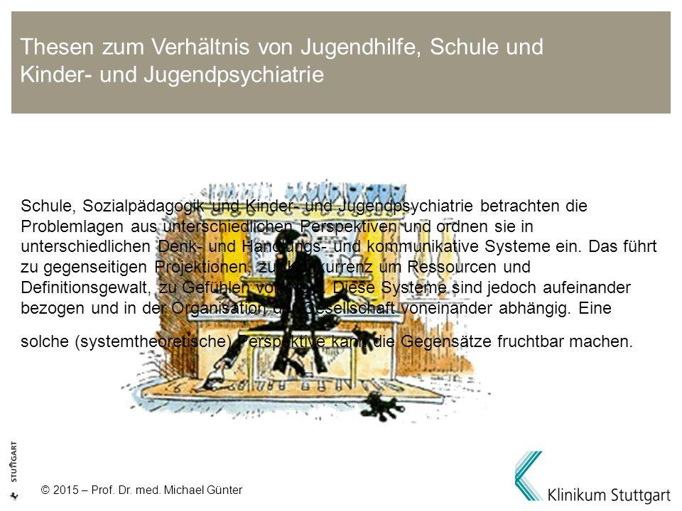 © 2015 – Prof. Dr. med. Michael Günter Schule, Sozialpädagogik und Kinder- und Jugendpsychiatrie betrachten die Problemlagen aus unterschiedlichen Per