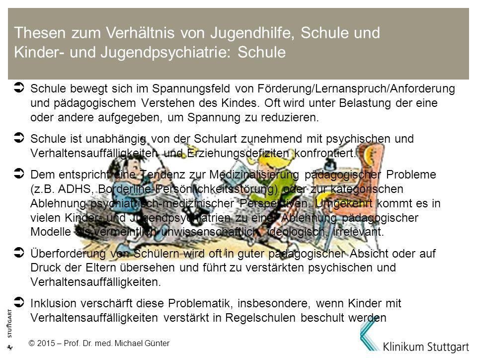 © 2015 – Prof. Dr. med. Michael Günter  Schule bewegt sich im Spannungsfeld von Förderung/Lernanspruch/Anforderung und pädagogischem Verstehen des Ki