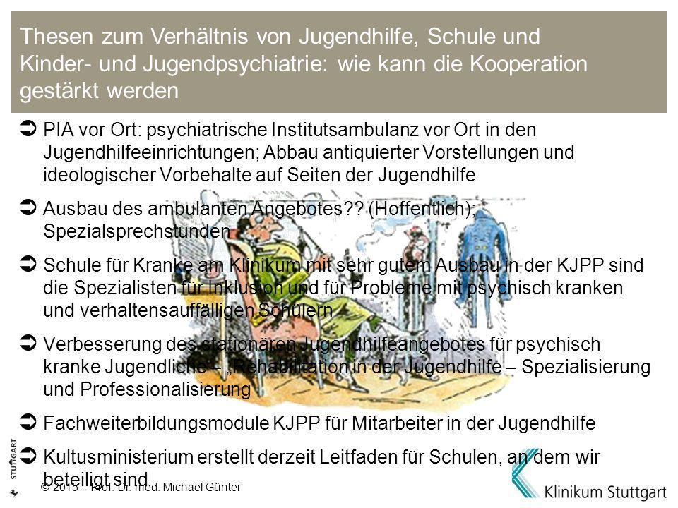© 2015 – Prof. Dr. med. Michael Günter  PIA vor Ort: psychiatrische Institutsambulanz vor Ort in den Jugendhilfeeinrichtungen; Abbau antiquierter Vor