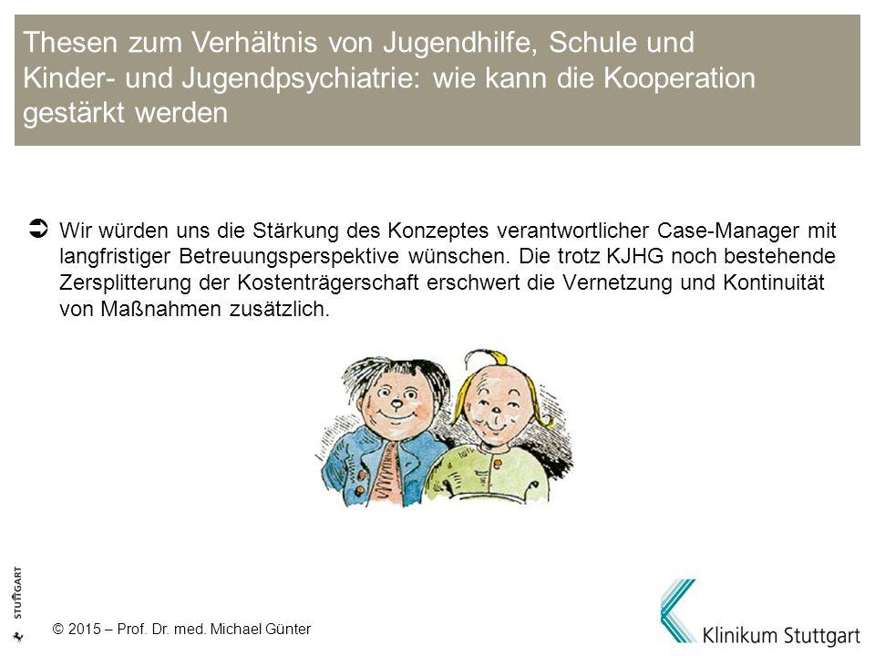 © 2015 – Prof. Dr. med. Michael Günter  Wir würden uns die Stärkung des Konzeptes verantwortlicher Case-Manager mit langfristiger Betreuungsperspekti