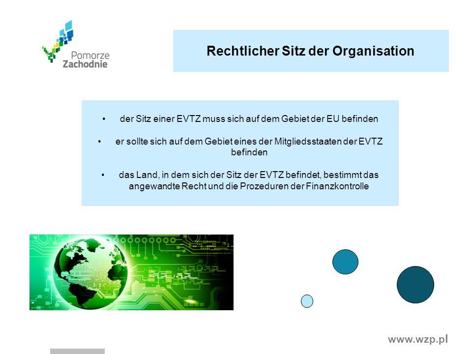 www.wzp.p l Rechtlicher Sitz der Organisation der Sitz einer EVTZ muss sich auf dem Gebiet der EU befinden er sollte sich auf dem Gebiet eines der Mit