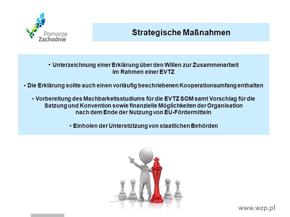 www.wzp.p l Strategische Maßnahmen Unterzeichnung einer Erklärung über den Willen zur Zusammenarbeit im Rahmen einer EVTZ Die Erklärung sollte auch ei