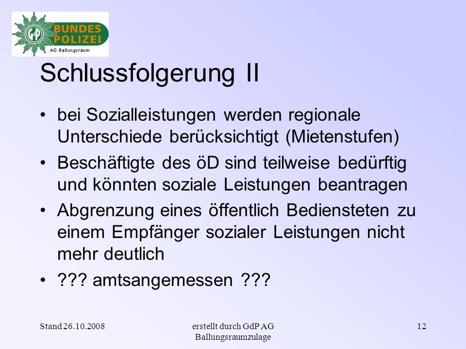 Stand 26.10.2008erstellt durch GdP AG Ballungsraumzulage 11 Einkommensvergleich verfügt über ein Nettoeinkommen ohne Abzugberufsbedingter Kosten als PVB/in A 9 (inkl.