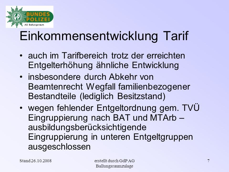 Stand 26.10.2008erstellt durch GdP AG Ballungsraumzulage 17 Lebenshaltung - Verbraucherpreise Auszug aus einem Artikel des Spiegel vom 03.08.2007 - !!.