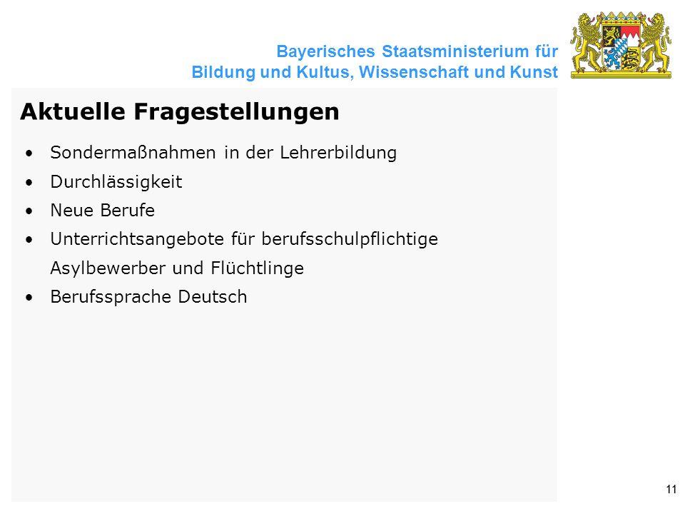 Bayerisches Staatsministerium für Bildung und Kultus, Wissenschaft und Kunst 11 Aktuelle Fragestellungen Sondermaßnahmen in der Lehrerbildung Durchlässigkeit Neue Berufe Unterrichtsangebote für berufsschulpflichtige Asylbewerber und Flüchtlinge Berufssprache Deutsch