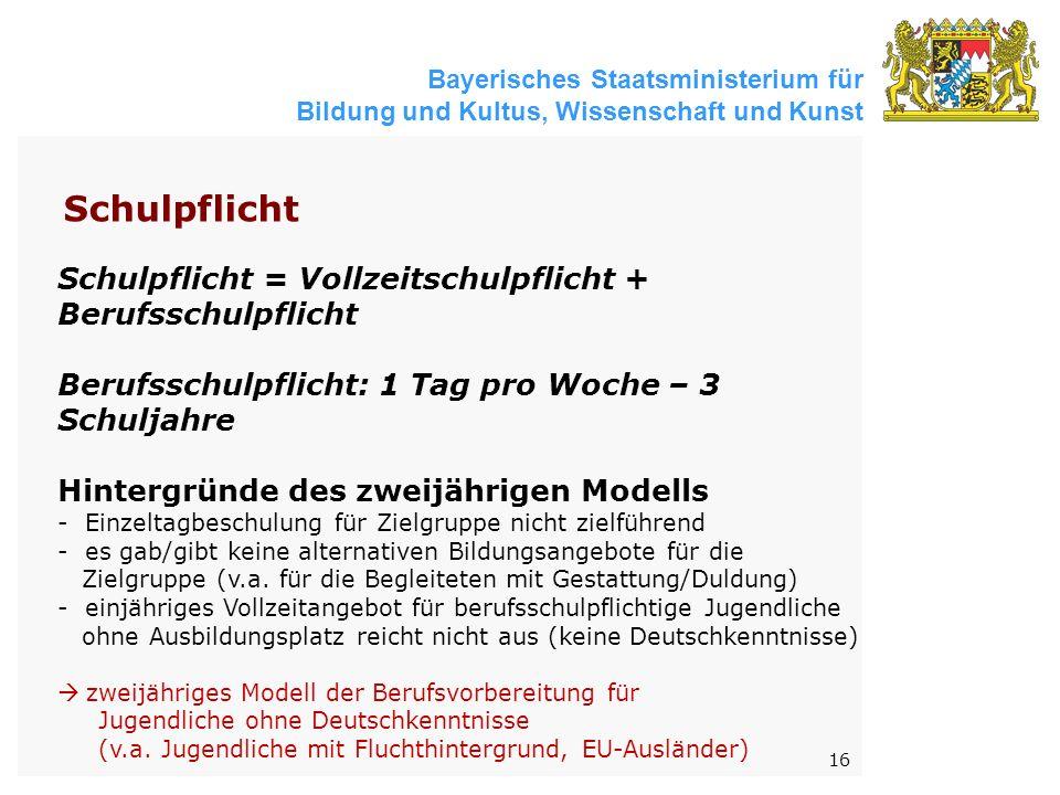 Bayerisches Staatsministerium für Bildung und Kultus, Wissenschaft und Kunst 16 Schulpflicht = Vollzeitschulpflicht + Berufsschulpflicht Berufsschulpflicht: 1 Tag pro Woche – 3 Schuljahre Hintergründe des zweijährigen Modells - Einzeltagbeschulung für Zielgruppe nicht zielführend - es gab/gibt keine alternativen Bildungsangebote für die Zielgruppe (v.a.