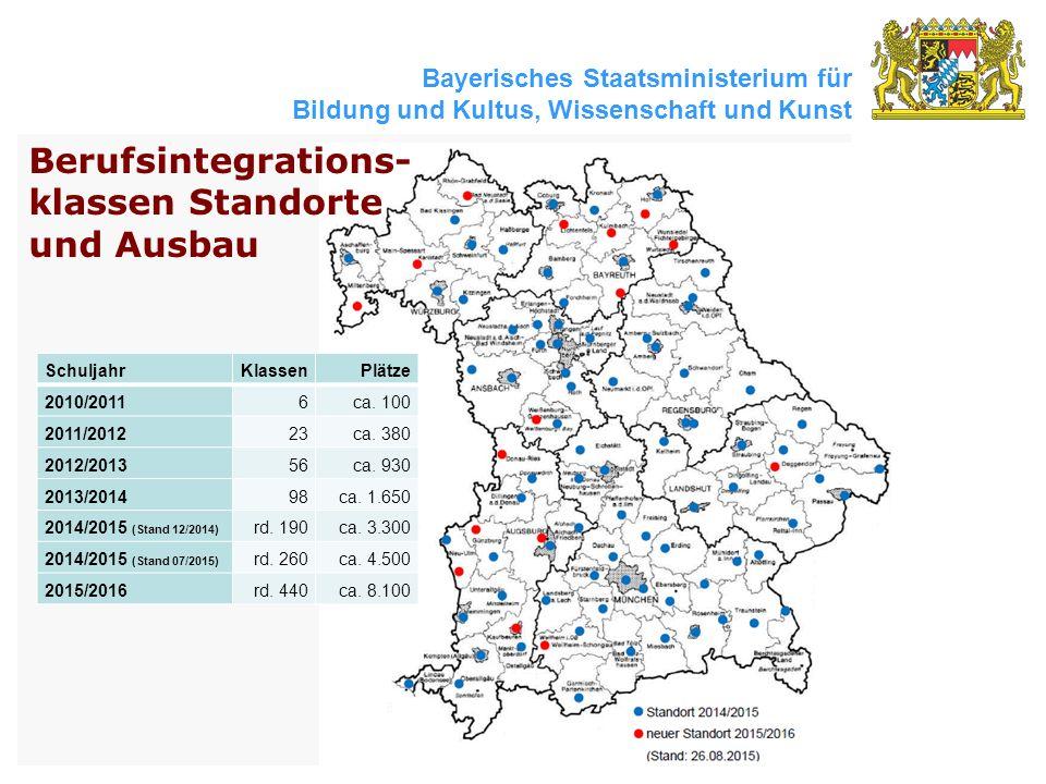 Bayerisches Staatsministerium für Bildung und Kultus, Wissenschaft und Kunst Berufsintegrations- klassen Standorte und Ausbau SchuljahrKlassenPlätze 2010/20116ca.