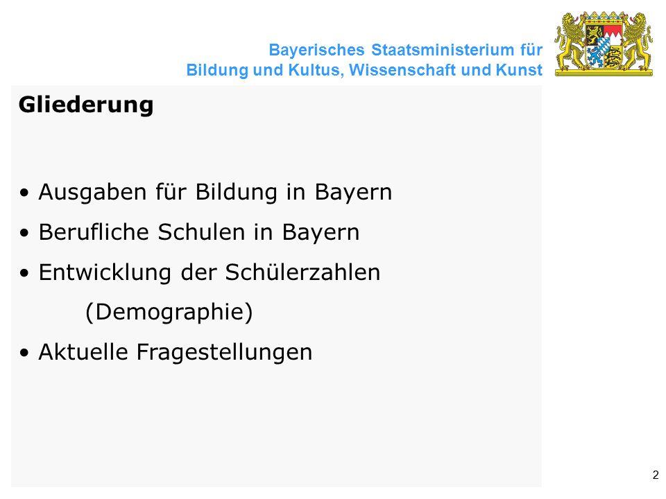 Bayerisches Staatsministerium für Bildung und Kultus, Wissenschaft und Kunst 22 Gliederung Ausgaben für Bildung in Bayern Berufliche Schulen in Bayern Entwicklung der Schülerzahlen (Demographie) Aktuelle Fragestellungen