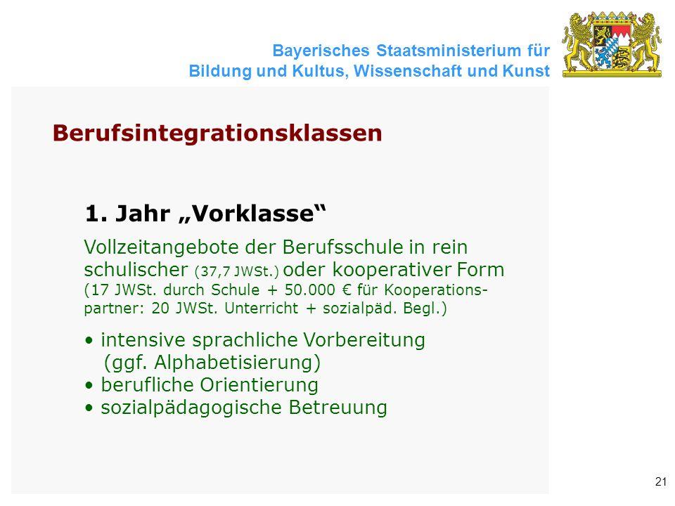 """Bayerisches Staatsministerium für Bildung und Kultus, Wissenschaft und Kunst 21 1. Jahr """"Vorklasse"""" Vollzeitangebote der Berufsschule in rein schulisc"""