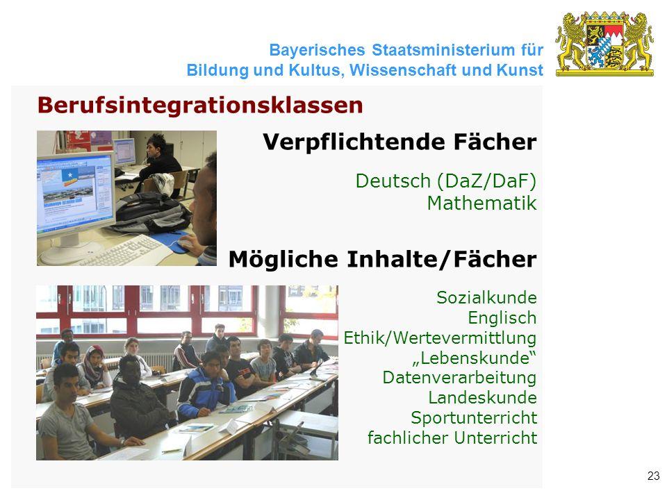 Bayerisches Staatsministerium für Bildung und Kultus, Wissenschaft und Kunst 23 Verpflichtende Fächer Deutsch (DaZ/DaF) Mathematik Mögliche Inhalte/Fä