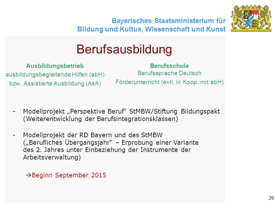 Bayerisches Staatsministerium für Bildung und Kultus, Wissenschaft und Kunst 26 Berufsausbildung Ausbildungsbetrieb ausbildungsbegleitende Hilfen (abH) bzw.