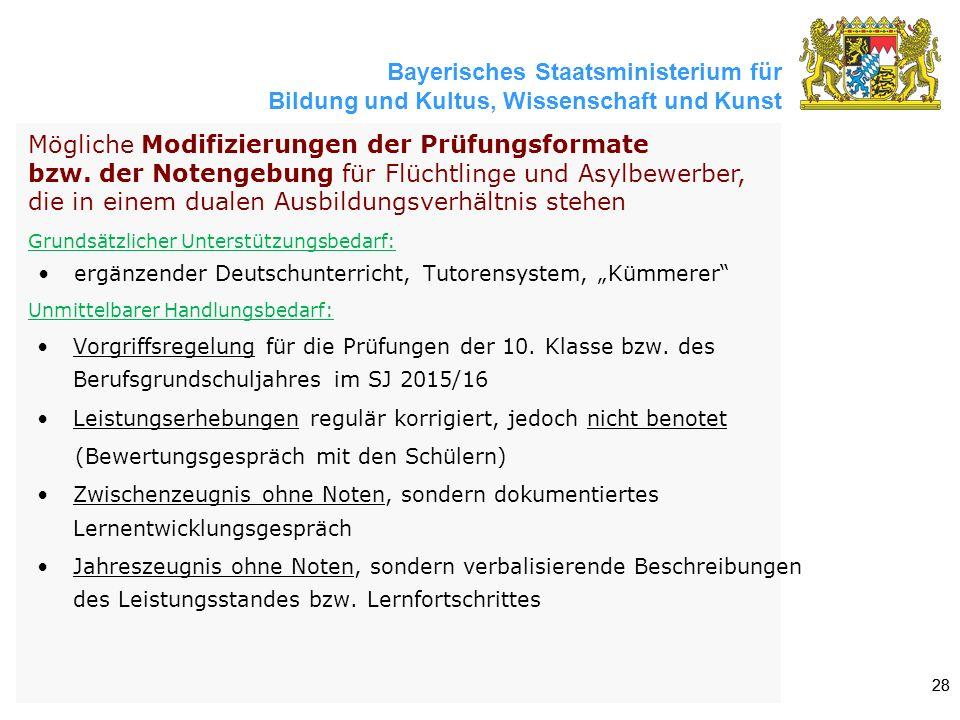 Bayerisches Staatsministerium für Bildung und Kultus, Wissenschaft und Kunst 28 Mögliche Modifizierungen der Prüfungsformate bzw. der Notengebung für