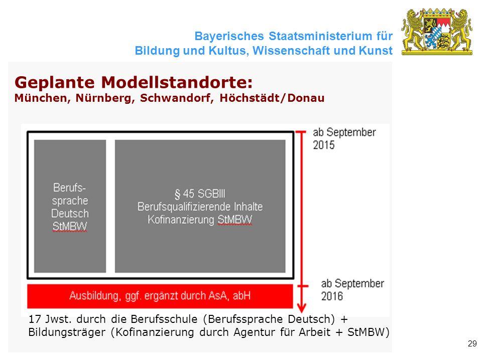 Bayerisches Staatsministerium für Bildung und Kultus, Wissenschaft und Kunst 29 Geplante Modellstandorte: München, Nürnberg, Schwandorf, Höchstädt/Donau 17 Jwst.