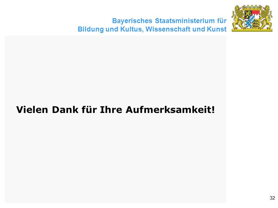 Bayerisches Staatsministerium für Bildung und Kultus, Wissenschaft und Kunst 32 Vielen Dank für Ihre Aufmerksamkeit!